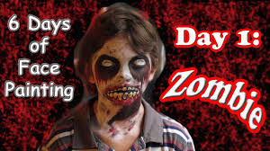halloween zombie face painting tutorial day 1 youtube