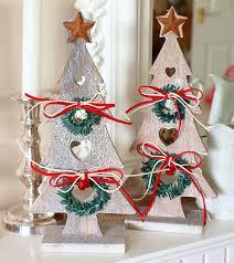 christmas tree decorations wooden christmas trees shabby