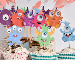 monster cake toppers baby monsters birthday keepsake clay