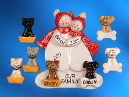 personalized snow ornament with 1 or 2 pets image