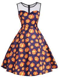 halloween pumpkin mesh yoke sleeveless dress colormix xl in