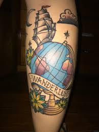 West Virginia travel tattoos images Tattoo wanderlust globo caravela old school colorida tattoo jpg
