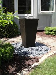 black glaze stone container water fountain for backyard exterior