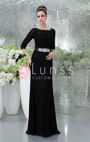 black lace scalloped bateau neck 3 4 sleeve slim elegant formal
