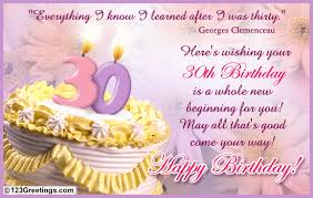 a warm 30th b u0027day wish free milestones ecards greeting cards