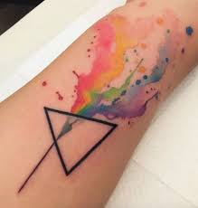 watercolor tattoo geometric abstract rainbow watercolor tattoo