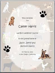 dog birth certificates page