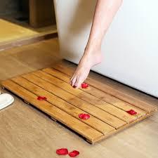 amazon com gobam wooden bath mat bamboo bath floor and shower mat