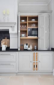 Hidden Dining Table Cabinet Hidden Microwave Kitchen Traditional With White Cabinets Black