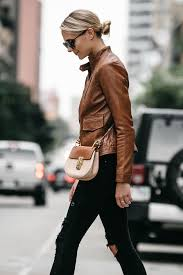 leather moto jacket a chic way to wear a tan leather moto jacket fashion jackson