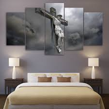online shop 5 pcs set framed hd printed jesus statue cross canvas