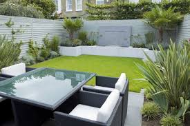 Ideas For A Small Backyard by Modern Small Low Maintenance Garden Fake Grass Grey Raised Beds In