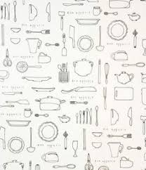themed wrapping paper metro cafe cutlery black great for an apron sewing and quilts