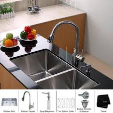 Kitchen Sink And Faucet Sets by Kraus Kitchen Combo Set Stainless Steel Double Undermount Sink