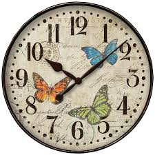 Clock Home Decor Amazon Com Westclox Round Butterfly Wall Clock 12