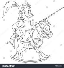 coloring page cartoon medieval knight riding stock vector