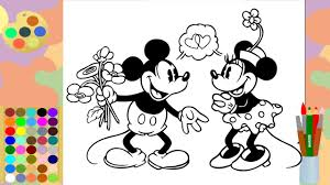 coloring page disney mickey mouse u0026 minnie mouse coloring markers