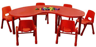 Ikea Toddler Table by Kidney Shape Red Tone Kids Playing Table With Plastic Chairs Of