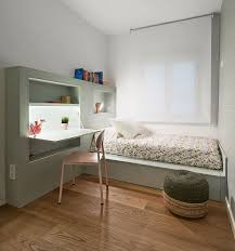 Shelf Bed Frame This Small Bedroom Combines The Bed Frame A Desk And