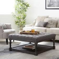 overstock ottoman coffee table creston smoke linen tufted ottoman free shipping today