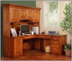 Cherry Wood Corner Computer Desk Small Corner Computer Desk W Tower Hutch Storage Shelves Wood