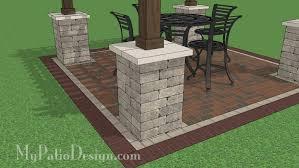 Backyard Brick Patio Design With 12 X 12 Pergola Grill Station by 12x12 Cedar Pergola Design With Columns Downloadable Plan