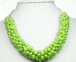 chunky pearl bib necklace images Chunky bib pearl cluster necklace alana apple green light jpg
