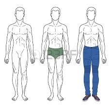 fashion man outlined template full length front figure silhouette