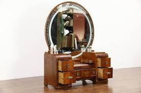 Vintage Makeup Vanity Table Furniture Antique Small Makeup Vanity Desk With Round Gilt Mirror