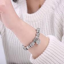 crystal charm bracelet beads images Eleshe luxury brand women bracelet 925 unique silver crystal charm jpeg