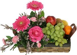fruit and flowers fresh fruit and pretty flowers gift arrangement flower shop