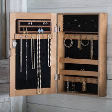 Jewelry Armoire With Lock And Key Distressed Wall Mount Mirrored Locking Jewelry Armoire Hayneedle