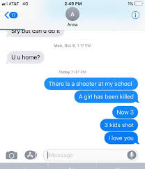 Text Messages Show Horror Inside - the text message no parent wants to get there is a shooter