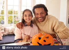 Halloween Decorations At Home Father Daughter Painting African American Stock Photos U0026 Father
