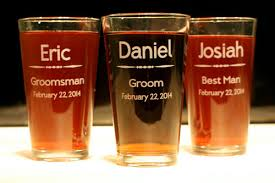 personalized glasses wedding groomsmen wedding party personalized pint glasses set of 3