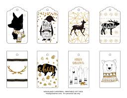woodland printable gift tags black and gold
