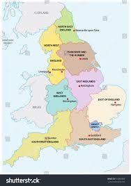 outline map nine regions england stock vector 510082909 shutterstock