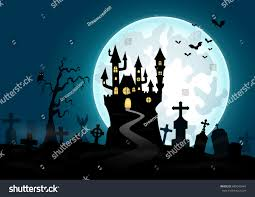 blue halloween background halloween background haunted house graveyard vector stock vector
