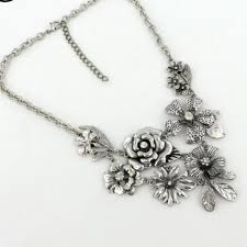 flower silver necklace images Vintage antique silver flower necklace kittijewelry jpg