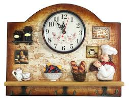 Unique Housewarming Gifts by Heartful Home Italian Chef Wall Decor Clock With Key Holder Hooks