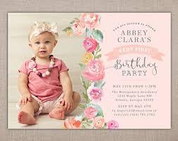 little bird birthday invitation with shabby chic first