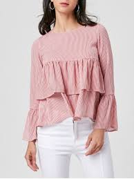 striped blouse pink l bell sleeve layered striped blouse rosegal com