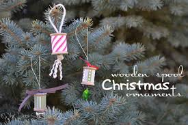 wooden spool ornaments decore