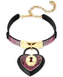 love heart choker necklace images Lyst betsey johnson black tone pav crystal heart lock choker jpeg