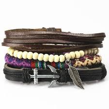leather bracelet sets images 4 pcs 1 sets anchor bead leather bracelets bangles for men 39 s jpg