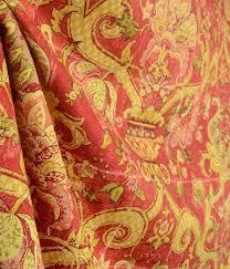 Traditional Upholstery Fabrics Waverly Archival Urn Rosso Floral Damask Cotton Red Fabric
