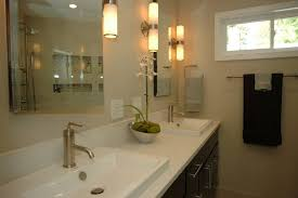 Bathroom Satin Nickel Bathroom Lights 6 Light Vanity Light Two