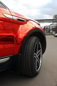wrapped range rover evoque range rover evoque gets the red chrome treatment in russia