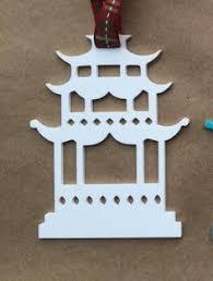 handmade painted chinoiserie toile pagoda porcelain ornament