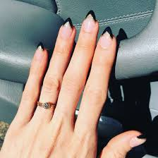 stiletto nails with black u0026 gold french tips nails pinterest